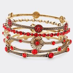 5 PCS - Crystal Station Flower Stack Bracelets